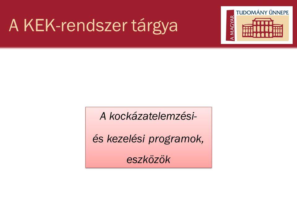 A KEK-rendszer tárgya A kockázatelemzési- és kezelési programok, eszközök