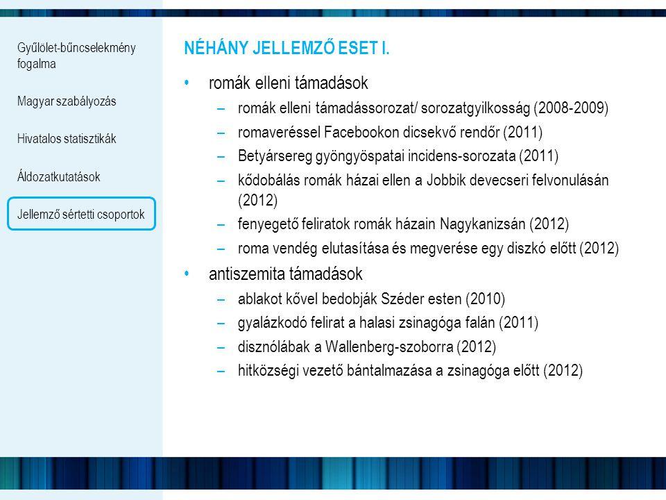 Gyűlölet-bűncselekmény fogalma Magyar szabályozás Hivatalos statisztikák Áldozatkutatások Jellemző sértetti csoportok NÉHÁNY JELLEMZŐ ESET I. romák el
