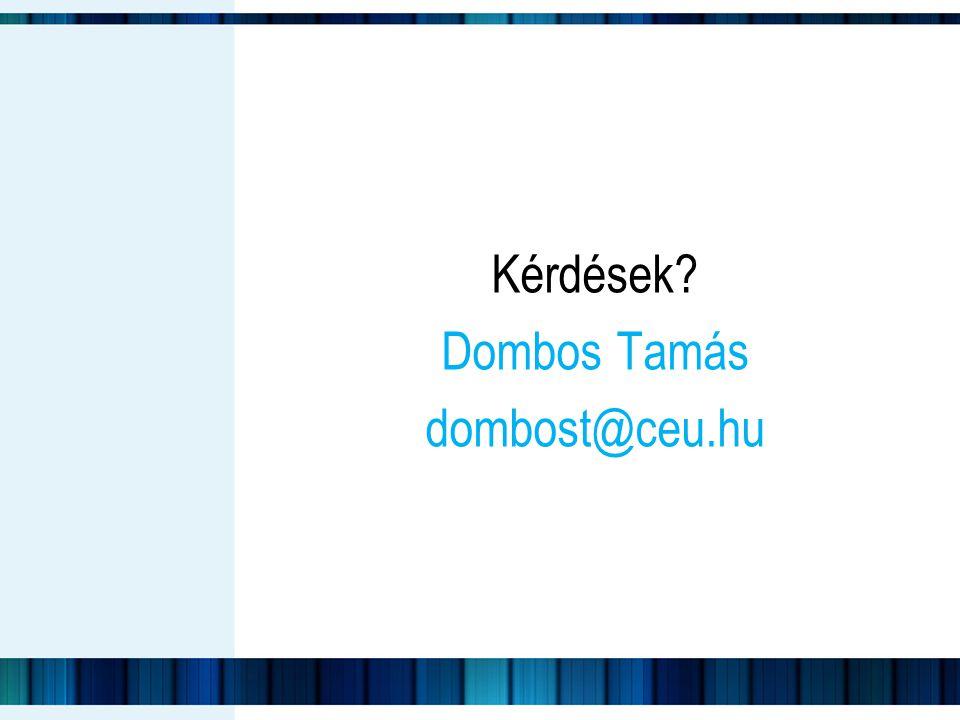 Kérdések? Dombos Tamás dombost@ceu.hu