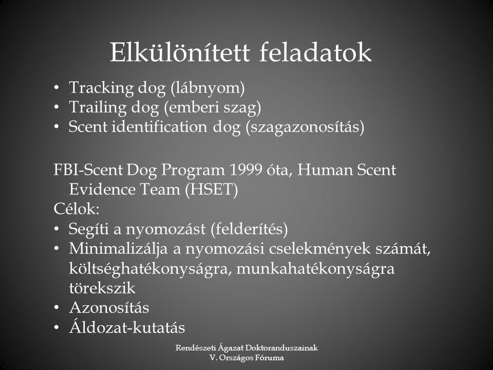 Rendészeti Ágazat Doktoranduszainak V. Országos Fóruma Tracking dog (lábnyom) Trailing dog (emberi szag) Scent identification dog (szagazonosítás) FBI