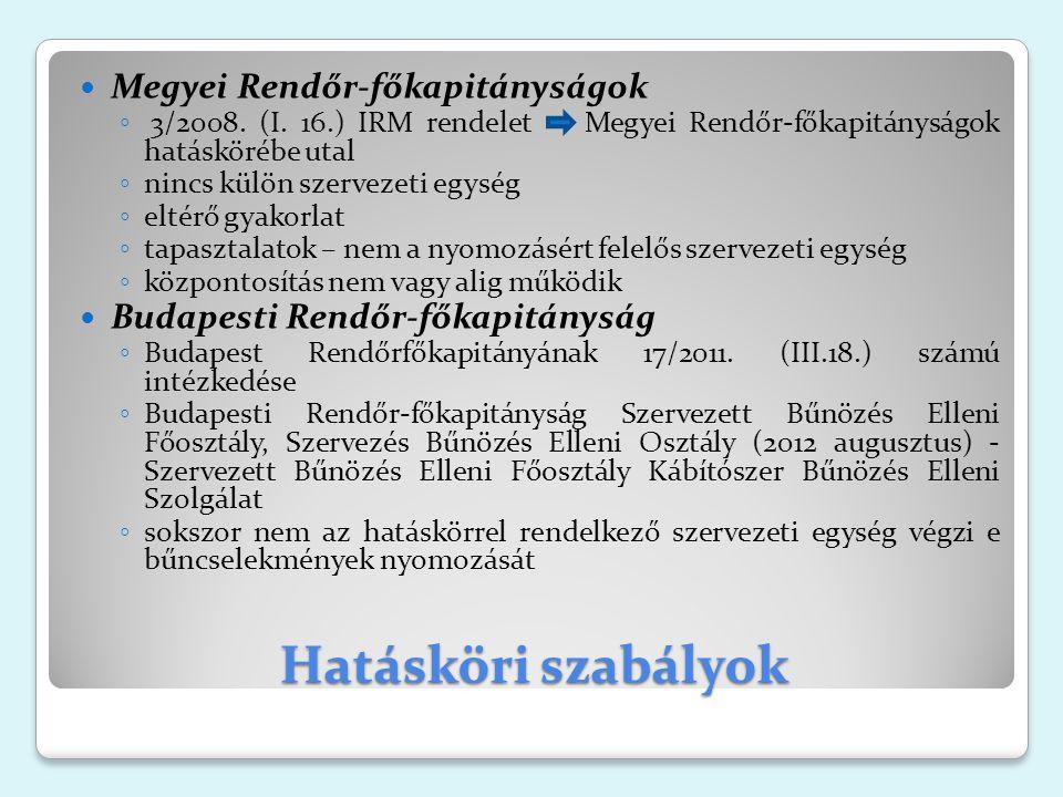 Hatásköri szabályok Megyei Rendőr-főkapitányságok ◦ 3/2008.