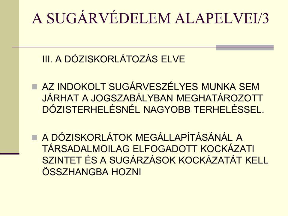 A SUGÁRVÉDELEM ALAPELVEI/3 III. A DÓZISKORLÁTOZÁS ELVE AZ INDOKOLT SUGÁRVESZÉLYES MUNKA SEM JÁRHAT A JOGSZABÁLYBAN MEGHATÁROZOTT DÓZISTERHELÉSNÉL NAGY
