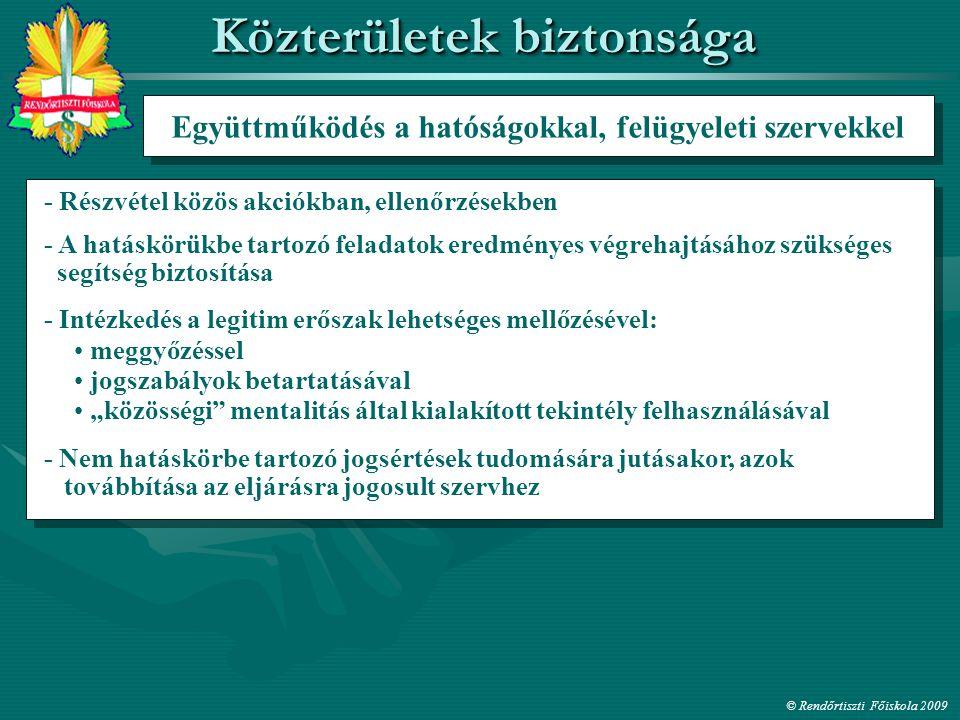 Együttműködés a hatóságokkal, felügyeleti szervekkel - Részvétel közös akciókban, ellenőrzésekben meggyőzéssel - A hatáskörükbe tartozó feladatok ered