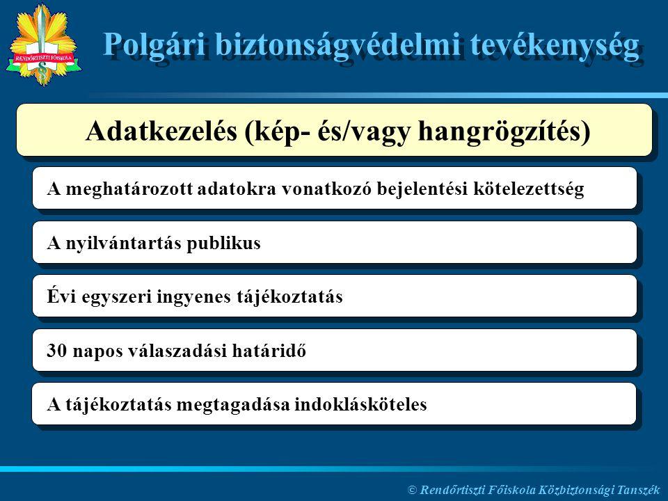 © Rendőrtiszti Főiskola Közbiztonsági Tanszék Polgári biztonságvédelmi tevékenység A meghatározott adatokra vonatkozó bejelentési kötelezettség A nyil