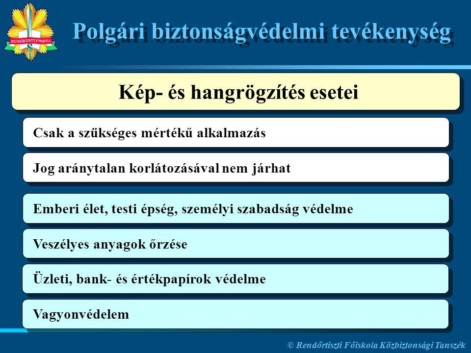 © Rendőrtiszti Főiskola Közbiztonsági Tanszék Polgári biztonságvédelmi tevékenység Csak a szükséges mértékű alkalmazás Jog aránytalan korlátozásával n