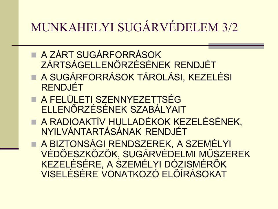 MUNKAHELYI SUGÁRVÉDELEM 3/2 A ZÁRT SUGÁRFORRÁSOK ZÁRTSÁGELLENŐRZÉSÉNEK RENDJÉT A SUGÁRFORRÁSOK TÁROLÁSI, KEZELÉSI RENDJÉT A FELÜLETI SZENNYEZETTSÉG ELLENŐRZÉSÉNEK SZABÁLYAIT A RADIOAKTÍV HULLADÉKOK KEZELÉSÉNEK, NYILVÁNTARTÁSÁNAK RENDJÉT A BIZTONSÁGI RENDSZEREK, A SZEMÉLYI VÉDŐESZKÖZÖK, SUGÁRVÉDELMI MŰSZEREK KEZELÉSÉRE, A SZEMÉLYI DÓZISMÉRŐK VISELÉSÉRE VONATKOZÓ ELŐÍRÁSOKAT