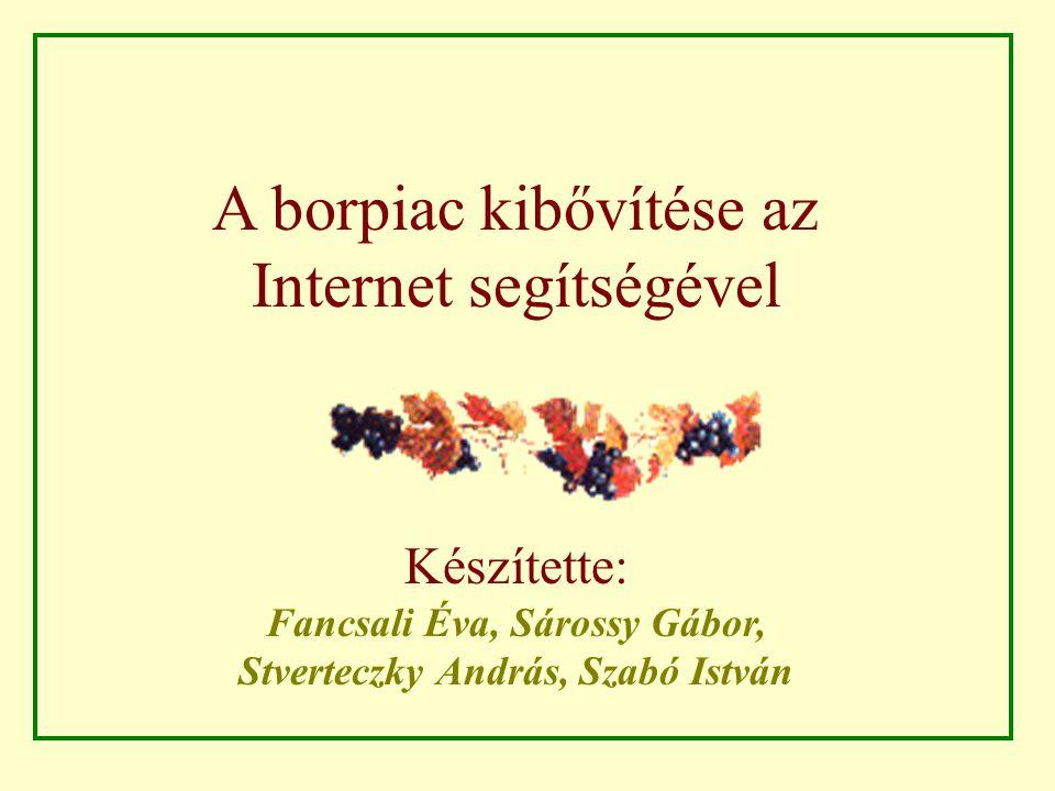A borpiac kibővítése az Internet segítségével Készítette: Fancsali Éva, Sárossy Gábor, Stverteczky András, Szabó István