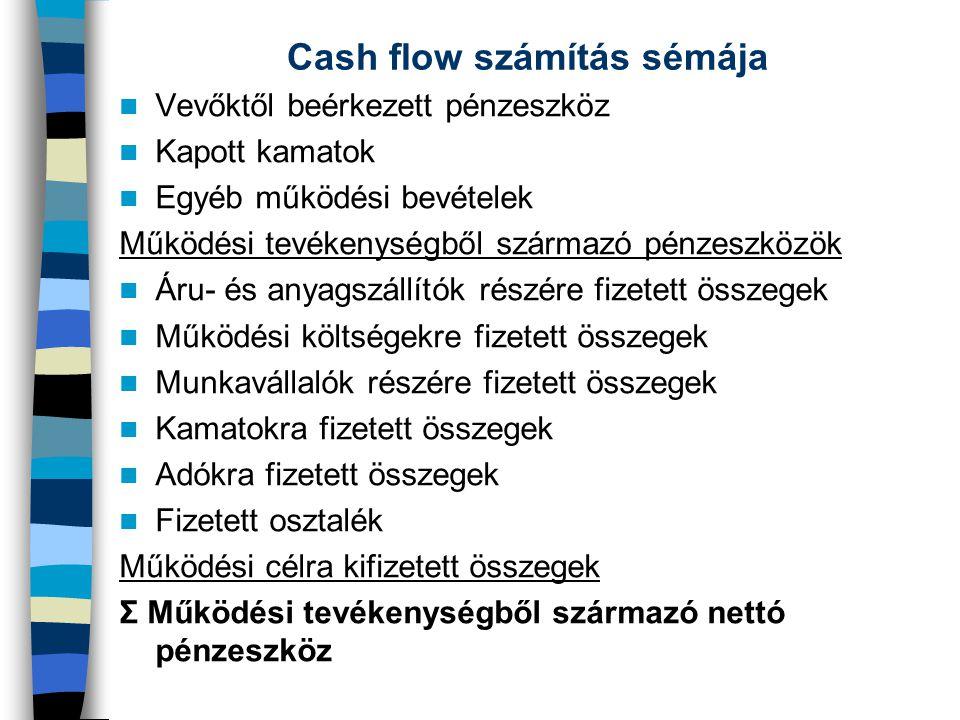 Cash flow számítás sémája Vevőktől beérkezett pénzeszköz Kapott kamatok Egyéb működési bevételek Működési tevékenységből származó pénzeszközök Áru- és