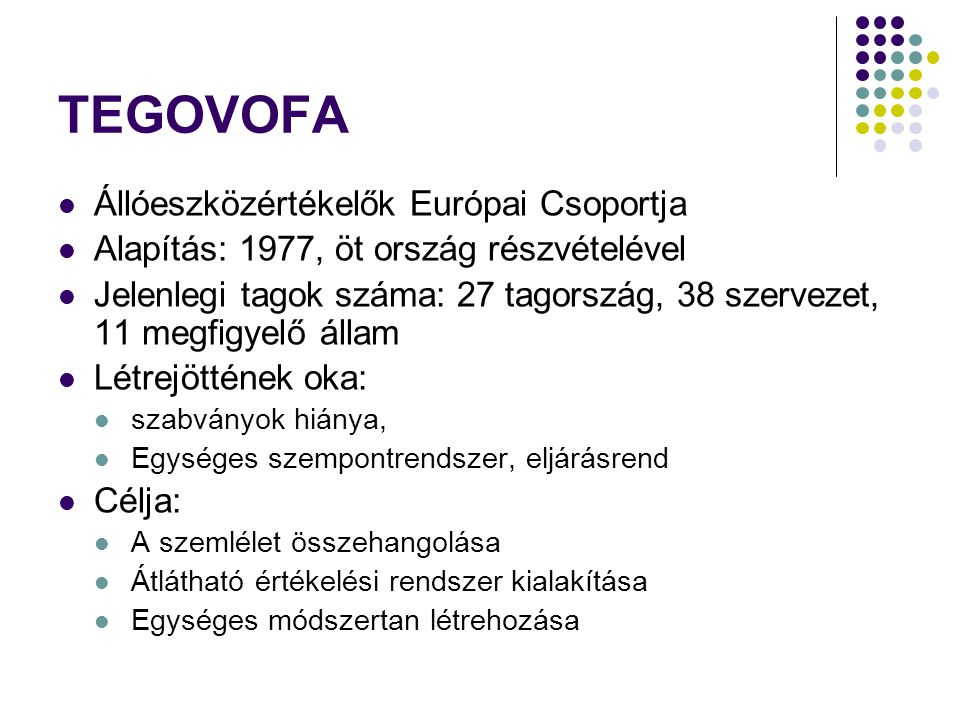 TEGOVOFA - TEGoVA Kiadványa: EVS (1.