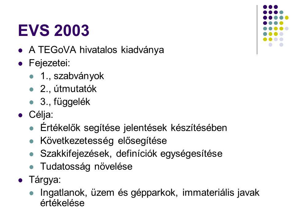 EVS 2003 A TEGoVA hivatalos kiadványa Fejezetei: 1., szabványok 2., útmutatók 3., függelék Célja: Értékelők segítése jelentések készítésében Következe