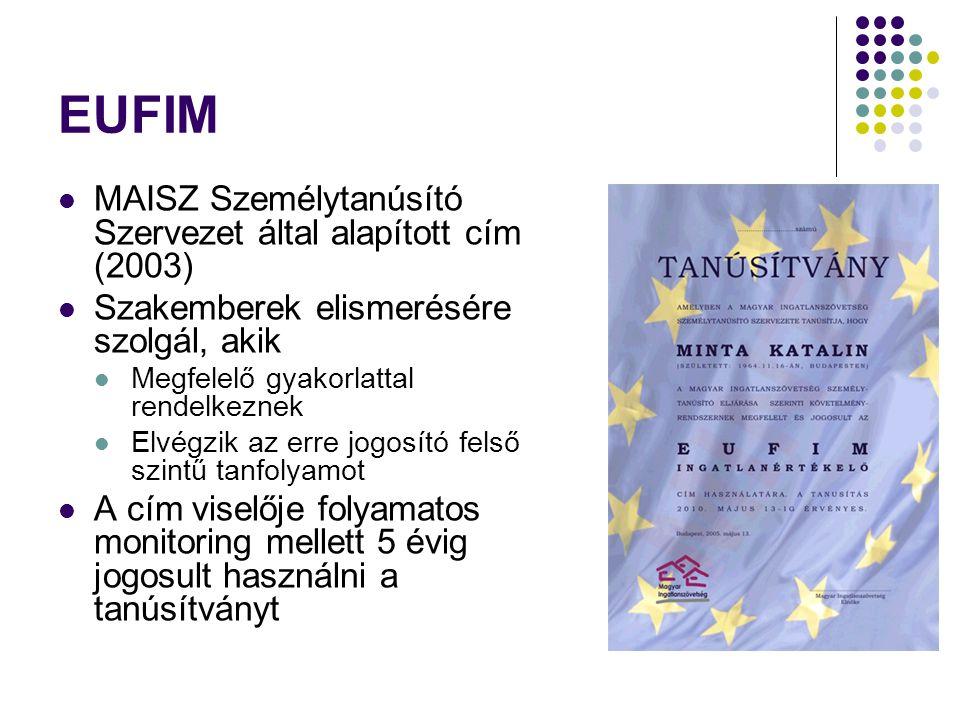 EUFIM MAISZ Személytanúsító Szervezet által alapított cím (2003) Szakemberek elismerésére szolgál, akik Megfelelő gyakorlattal rendelkeznek Elvégzik a