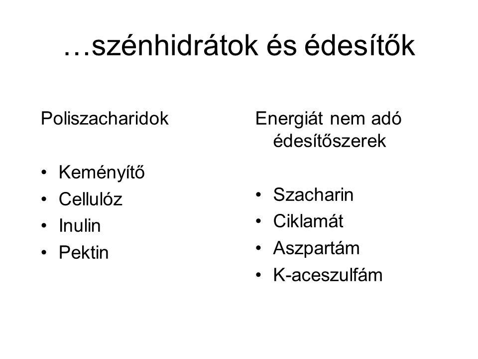 …szénhidrátok és édesítők Poliszacharidok Keményítő Cellulóz Inulin Pektin Energiát nem adó édesítőszerek Szacharin Ciklamát Aszpartám K-aceszulfám