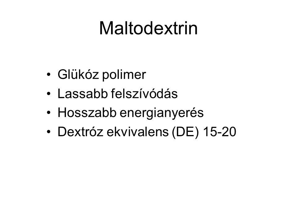 Maltodextrin Glükóz polimer Lassabb felszívódás Hosszabb energianyerés Dextróz ekvivalens (DE) 15-20
