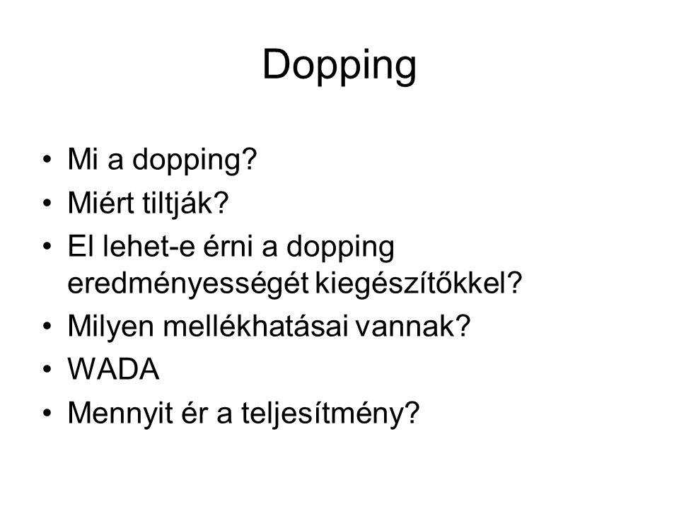 Dopping Mi a dopping? Miért tiltják? El lehet-e érni a dopping eredményességét kiegészítőkkel? Milyen mellékhatásai vannak? WADA Mennyit ér a teljesít