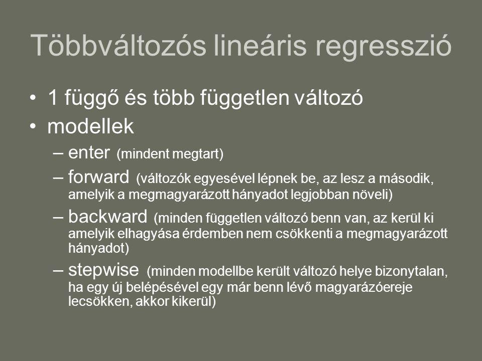 Többváltozós lineáris regresszió 1 függő és több független változó modellek –enter (mindent megtart) –forward (változók egyesével lépnek be, az lesz a második, amelyik a megmagyarázott hányadot legjobban növeli) –backward (minden független változó benn van, az kerül ki amelyik elhagyása érdemben nem csökkenti a megmagyarázott hányadot) –stepwise (minden modellbe került változó helye bizonytalan, ha egy új belépésével egy már benn lévő magyarázóereje lecsökken, akkor kikerül)