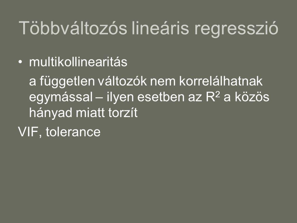 Többváltozós lineáris regresszió multikollinearitás a független változók nem korrelálhatnak egymással – ilyen esetben az R 2 a közös hányad miatt torzít VIF, tolerance