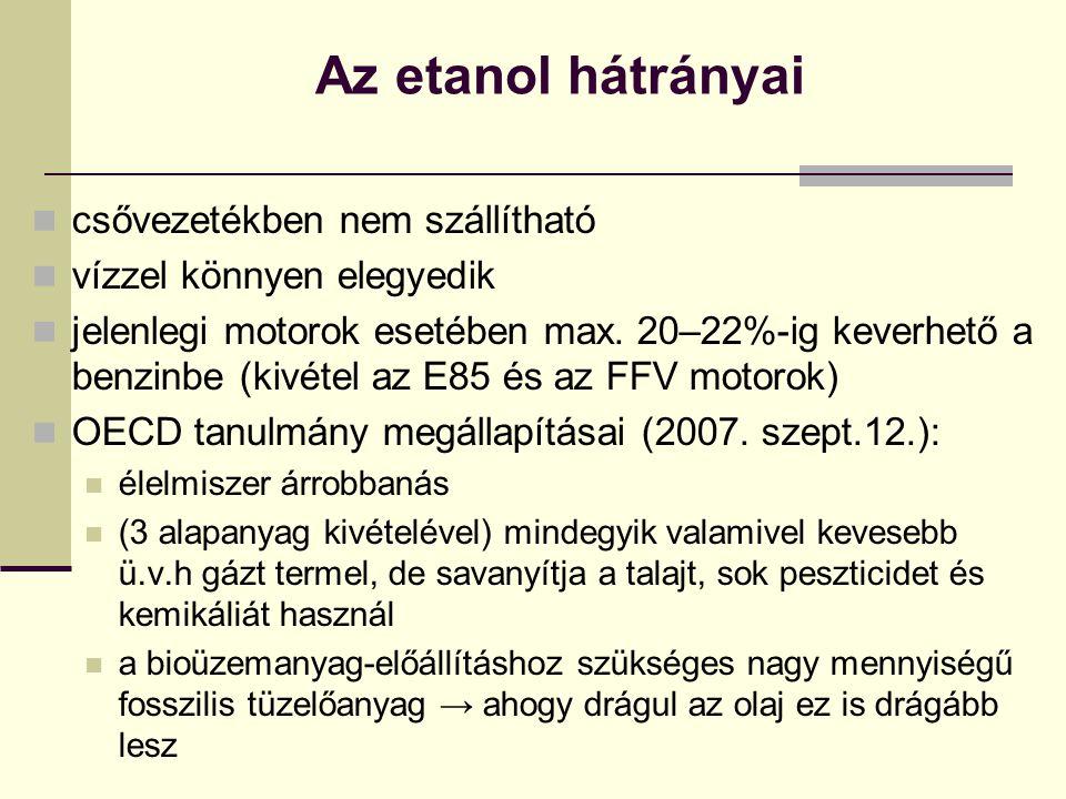 Az etanol hátrányai csővezetékben nem szállítható vízzel könnyen elegyedik jelenlegi motorok esetében max. 20–22%-ig keverhető a benzinbe (kivétel az