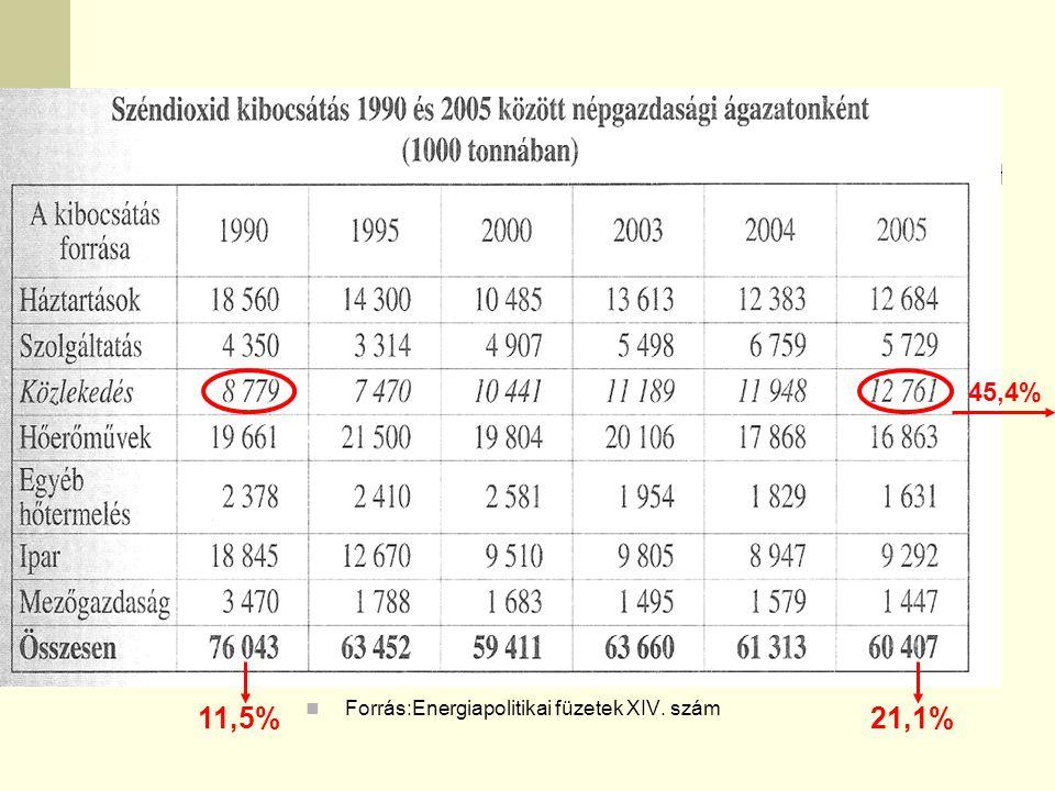 Forrás:Energiapolitikai füzetek XIV. szám 45,4% 11,5%21,1%