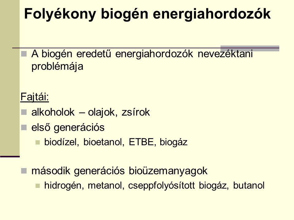 Folyékony biogén energiahordozók A biogén eredetű energiahordozók nevezéktani problémája Fajtái: alkoholok – olajok, zsírok első generációs biodízel,