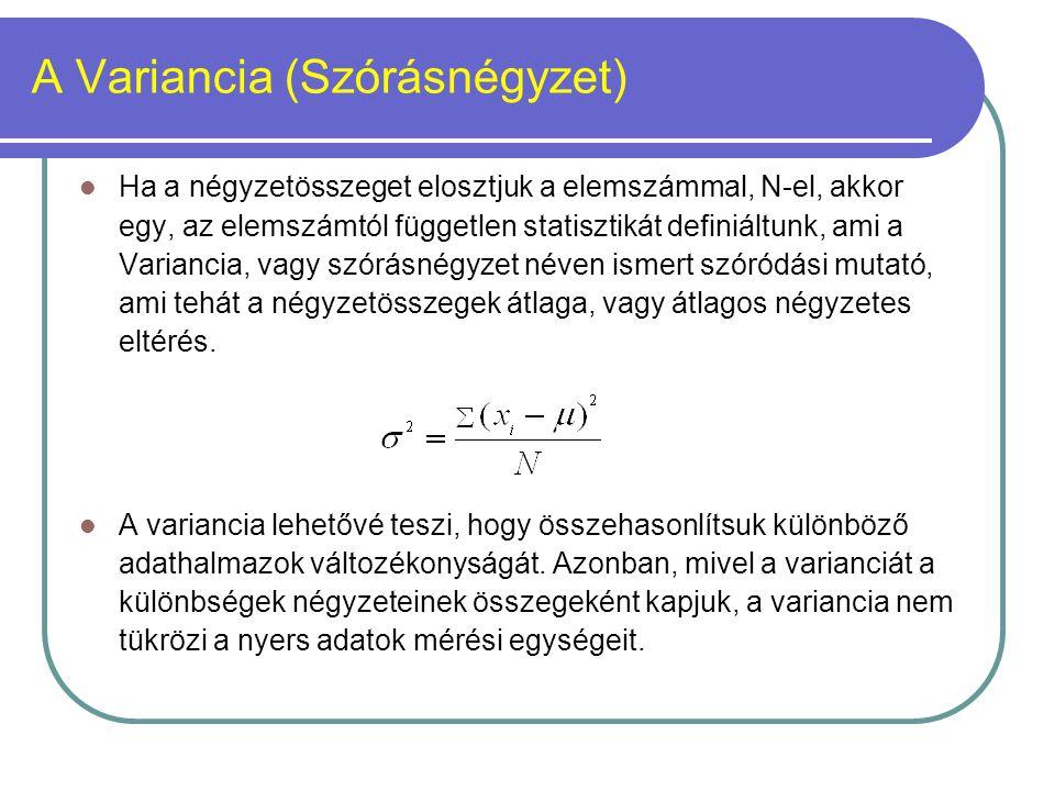 A Variancia (Szórásnégyzet) Ha a négyzetösszeget elosztjuk a elemszámmal, N-el, akkor egy, az elemszámtól független statisztikát definiáltunk, ami a V