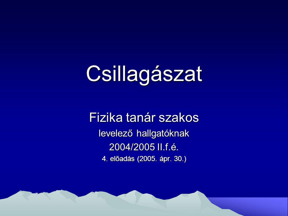 Csillagászat Fizika tanár szakos levelező hallgatóknak 2004/2005 II.f.é. 4. előadás (2005. ápr. 30.)