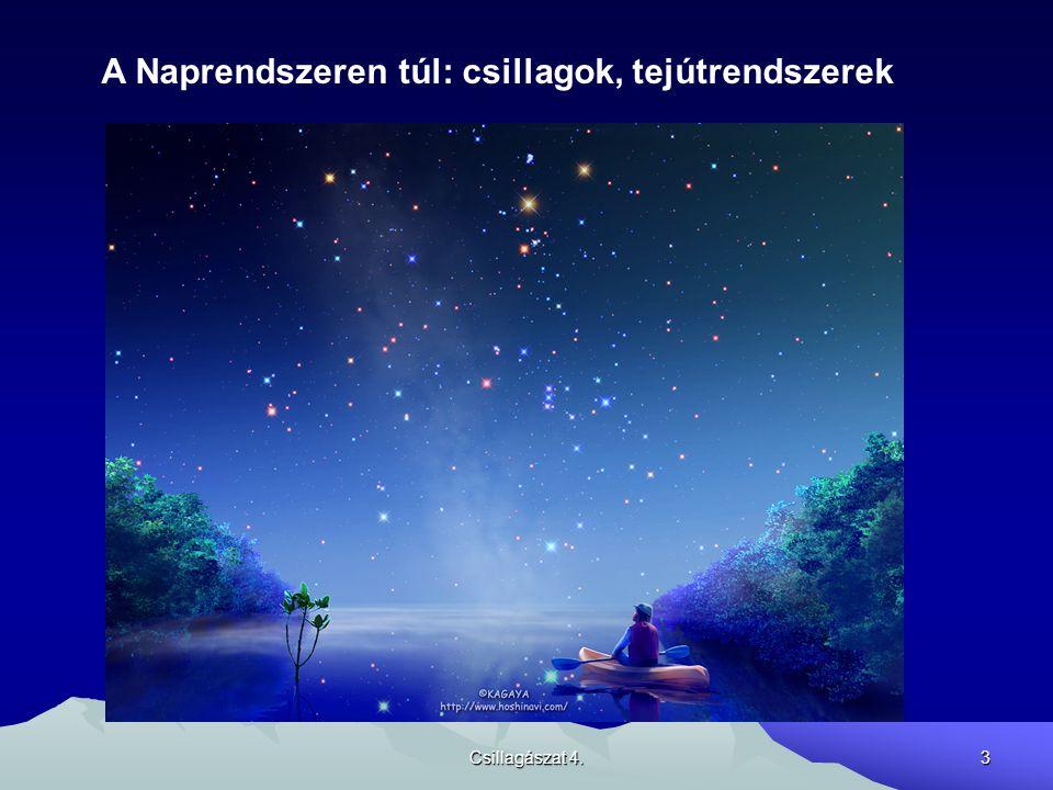 Csillagászat 4.4 A csillagok látszó tulajdonságai: Helyzetük – csillagképekbe rendezés Fényességük – magnitúdó (fényrend) skála – Hipparkhosztól ered Színük – a felszíni hőmérséklet függvénye Színképük – ennek részletes vizsgálatával sok információt kaphatunk