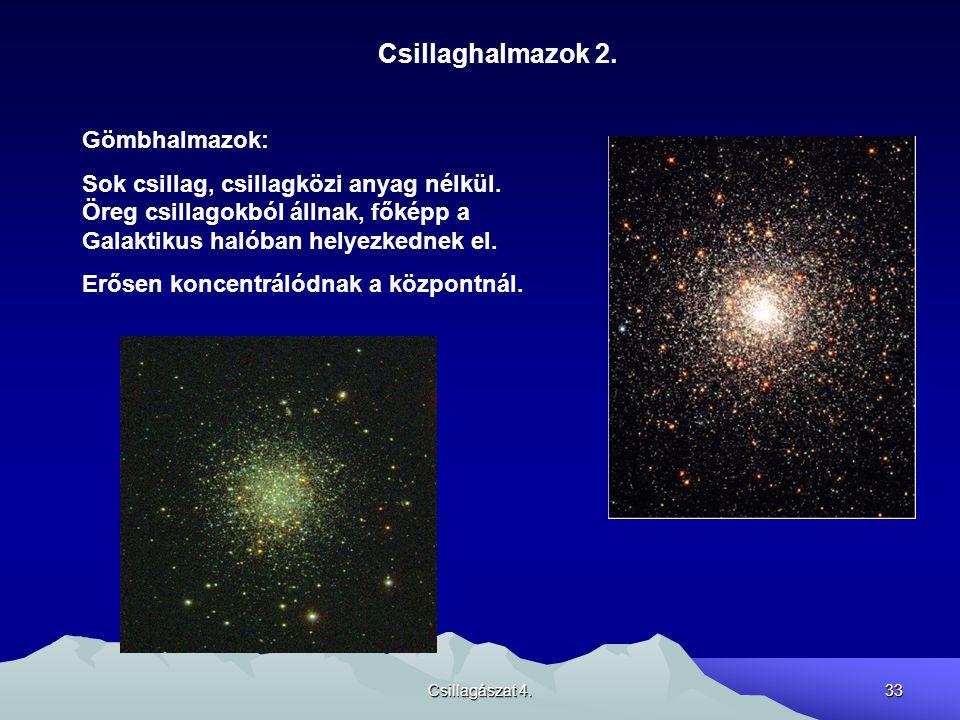 Csillagászat 4.33 Csillaghalmazok 2. Gömbhalmazok: Sok csillag, csillagközi anyag nélkül. Öreg csillagokból állnak, főképp a Galaktikus halóban helyez