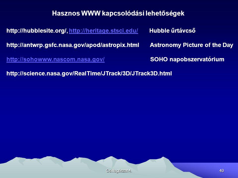 Csillagászat 4.40 Hasznos WWW kapcsolódási lehetőségek http://hubblesite.org/, http://heritage.stsci.edu/ Hubble űrtávcsőhttp://heritage.stsci.edu/ ht
