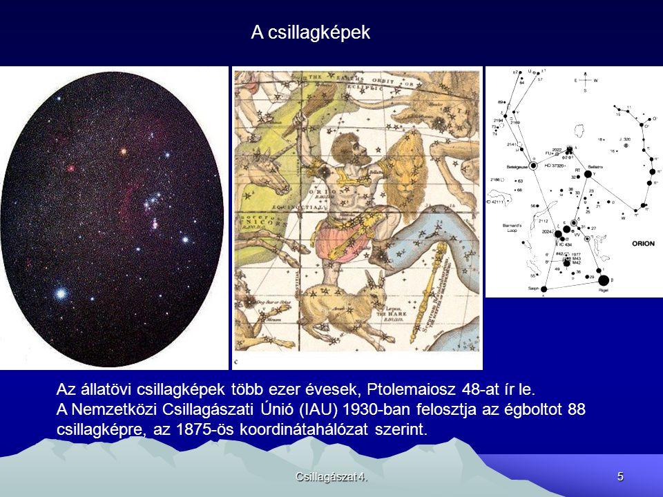 Csillagászat 4.5 A csillagképek Az állatövi csillagképek több ezer évesek, Ptolemaiosz 48-at ír le. A Nemzetközi Csillagászati Únió (IAU) 1930-ban fel