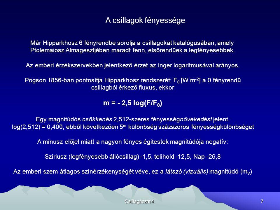Csillagászat 4.7 A csillagok fényessége Már Hipparkhosz 6 fényrendbe sorolja a csillagokat katalógusában, amely Ptolemaiosz Almagesztjében maradt fenn