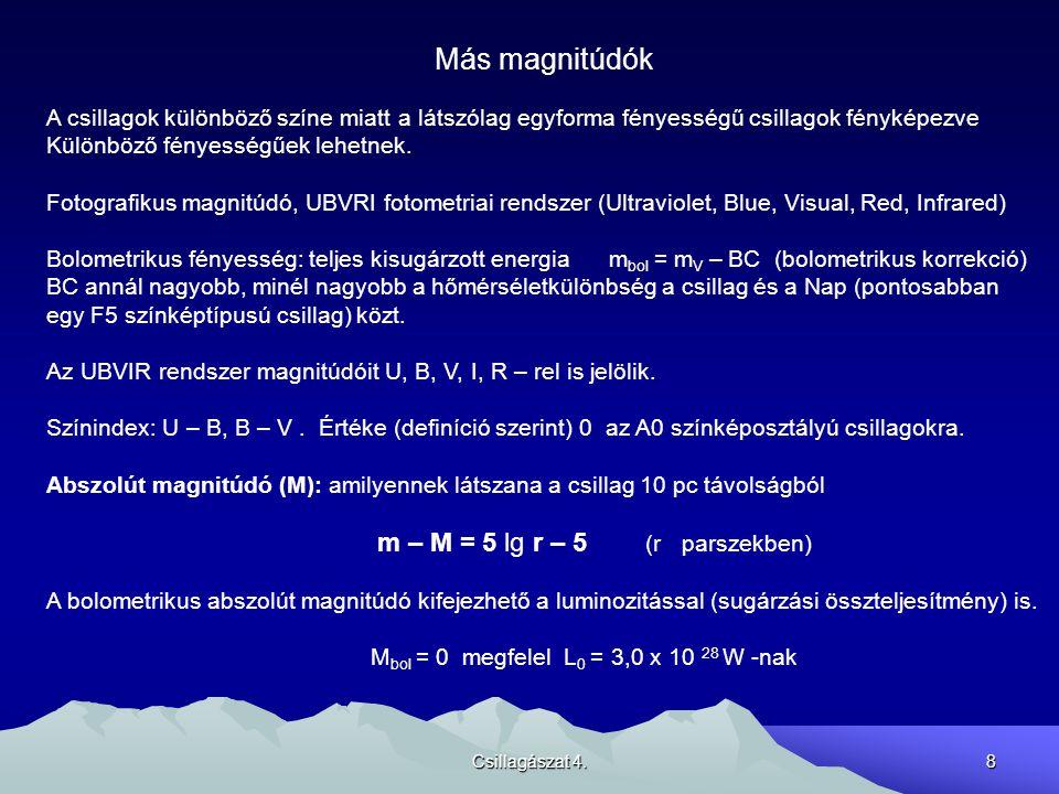 Csillagászat 4.9 Színképelemzés Fekete test sugárzás: folytonos színkép, Planck görbe..