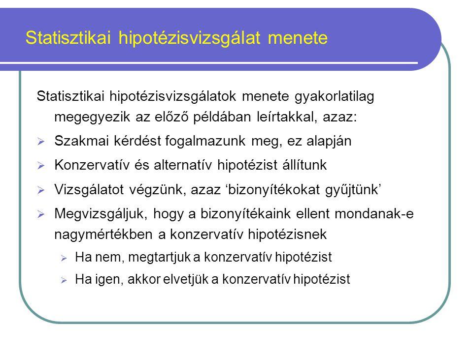 Statisztikai hipotézisvizsgálat menete A statisztikai hipotézisvizsgálatok során a hipotézisek ismeretében a mintából egy ún.