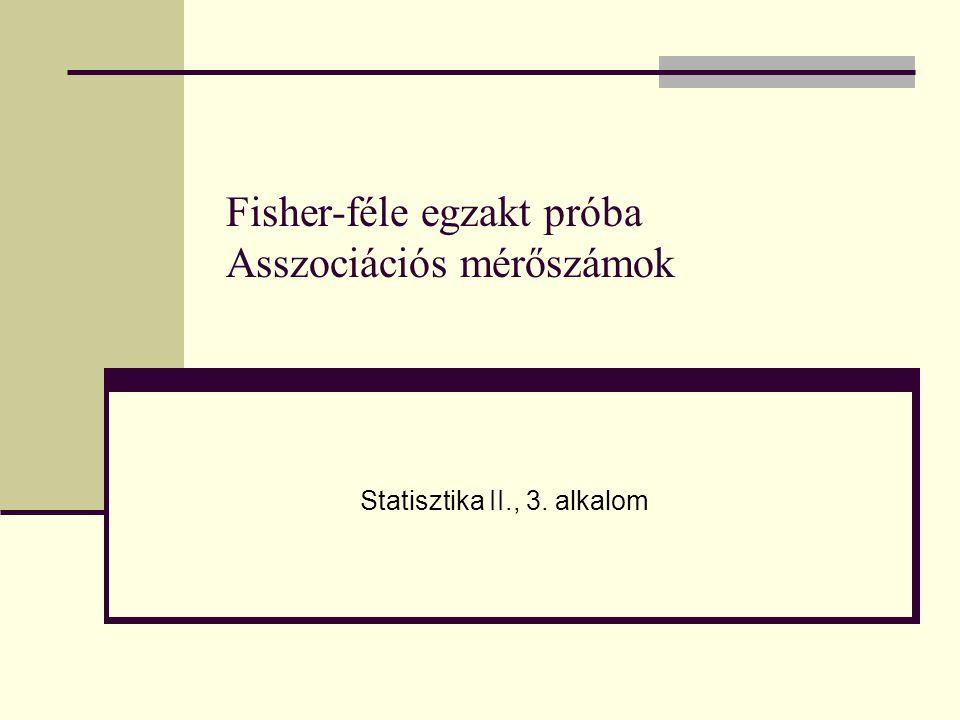 Fisher-féle egzakt próba Asszociációs mérőszámok Statisztika II., 3. alkalom
