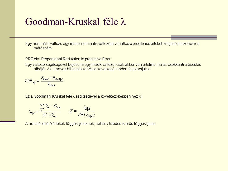 Goodman-Kruskal féle λ Egy nominális változó egy másik nominális változóra vonatkozó predikciós értekét kifejezó asszociációs mérőszám. PRE elv: Propo