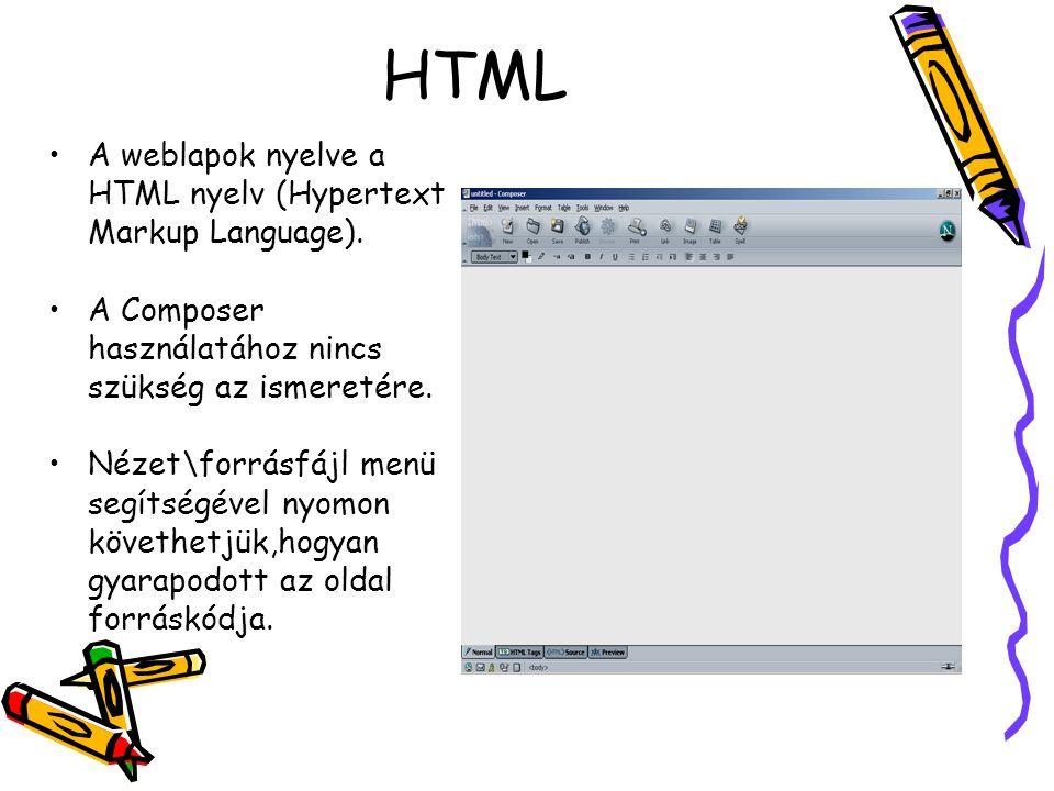 """Netscape Composer WYSIWYG szerkesztõ (What You See Is What You Get, Azt kapod, amit látsz) A nézet menü opciói: »Normál »""""minden tag (html utasítások) »Forrásfájl »Előnézet"""