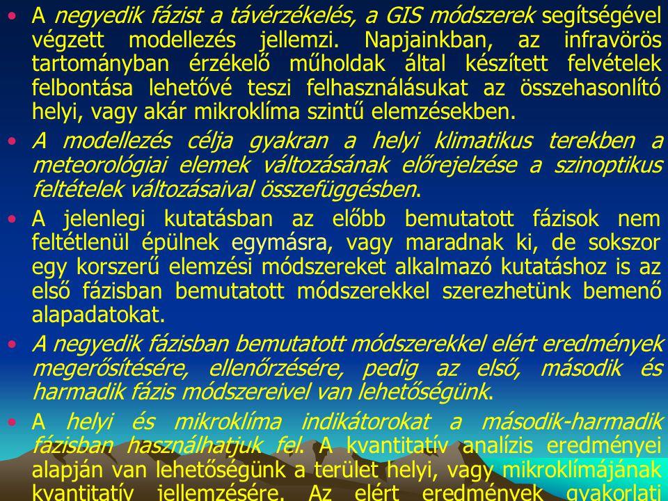 A negyedik fázist a távérzékelés, a GIS módszerek segítségével végzett modellezés jellemzi.