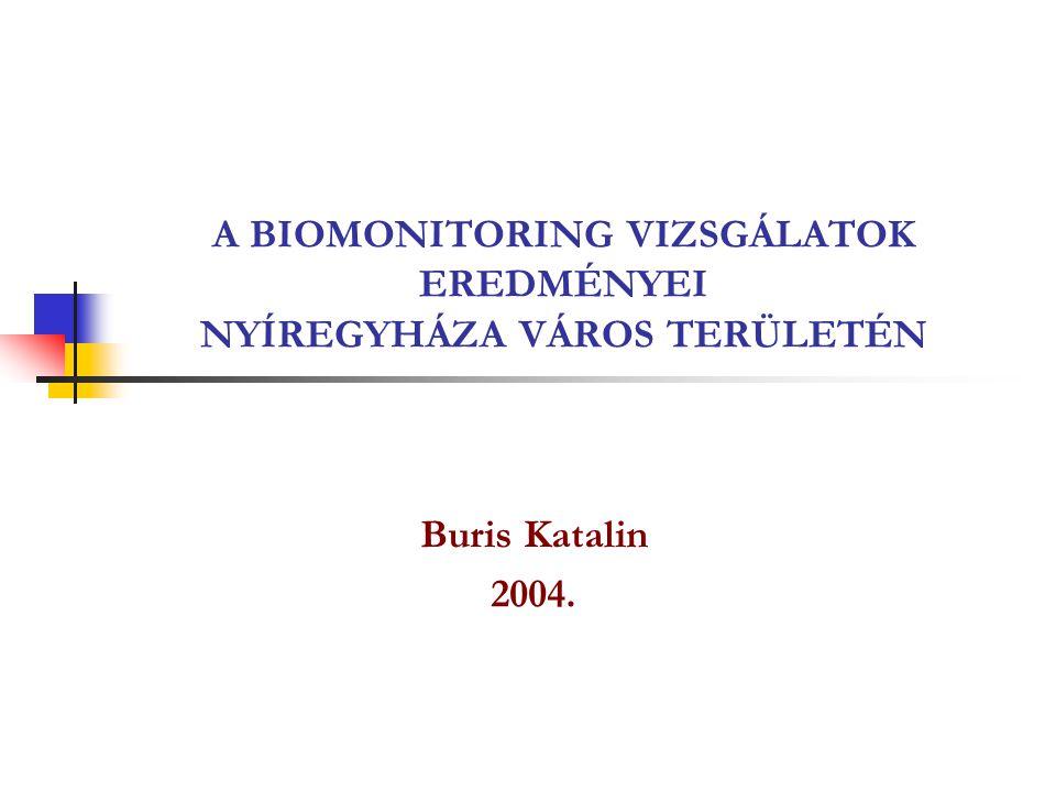 A BIOMONITORING VIZSGÁLATOK EREDMÉNYEI NYÍREGYHÁZA VÁROS TERÜLETÉN Buris Katalin 2004.
