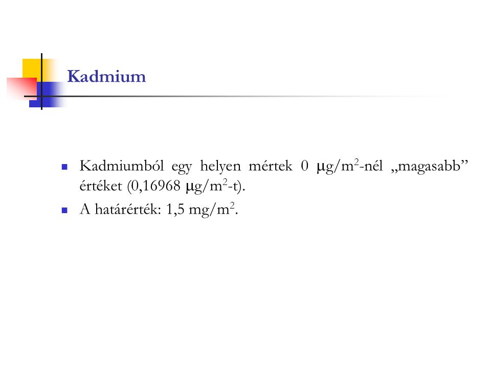 """Kadmium Kadmiumból egy helyen mértek 0  g/m 2 -nél """"magasabb"""" értéket (0,16968  g/m 2 -t). A határérték: 1,5 mg/m 2."""