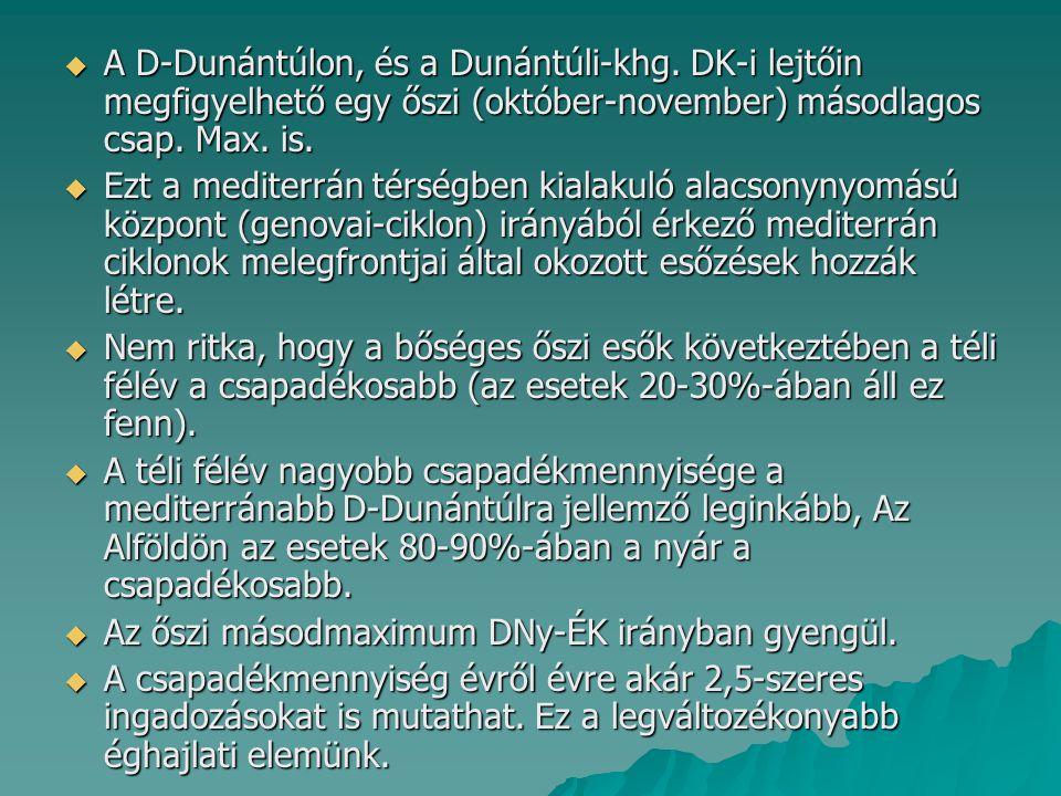  A D-Dunántúlon, és a Dunántúli-khg. DK-i lejtőin megfigyelhető egy őszi (október-november) másodlagos csap. Max. is.  Ezt a mediterrán térségben ki
