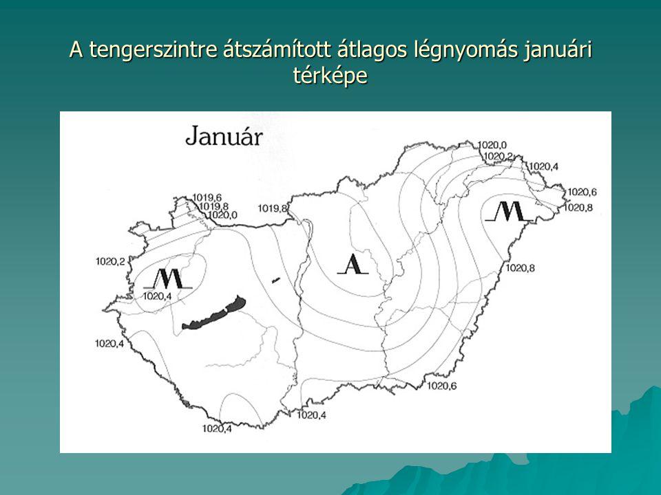 A tengerszintre átszámított átlagos légnyomás júliusi térképe