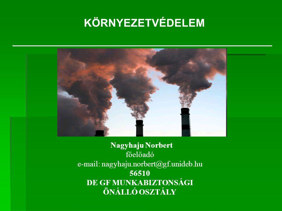 Nagyhaju Norbert főelőadó e-mail: nagyhaju.norbert@gf.unideb.hu 56510 DE GF MUNKABIZTONSÁGI ÖNÁLLÓ OSZTÁLY KÖRNYEZETVÉDELEM