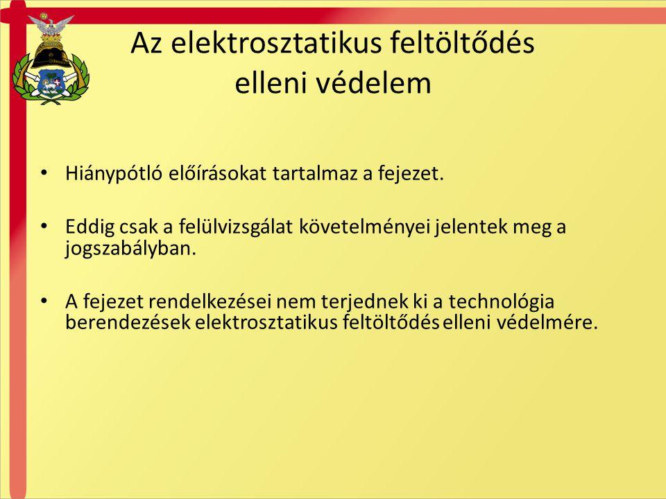 Az elektrosztatikus feltöltődés elleni védelem Hiánypótló előírásokat tartalmaz a fejezet. Eddig csak a felülvizsgálat követelményei jelentek meg a jo