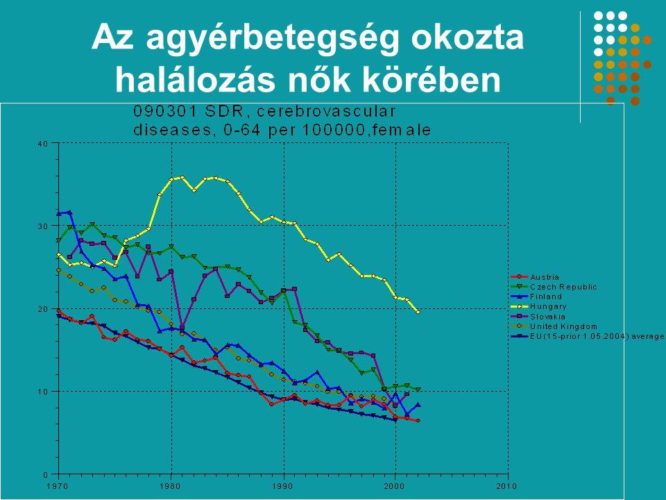 A májbetegségek és májzsugor miatti halandóság közel 10-szeresére emelkedett férfiak körében Az öngyilkosság miatti halálozás – a csökkenés ellenére – igen magas az EU tagállamaihoz viszo- nyítva A TBC miatti halandóság jelentősen meghaladja az EU átlagát Magyarország halálozásának jellemzői IV.