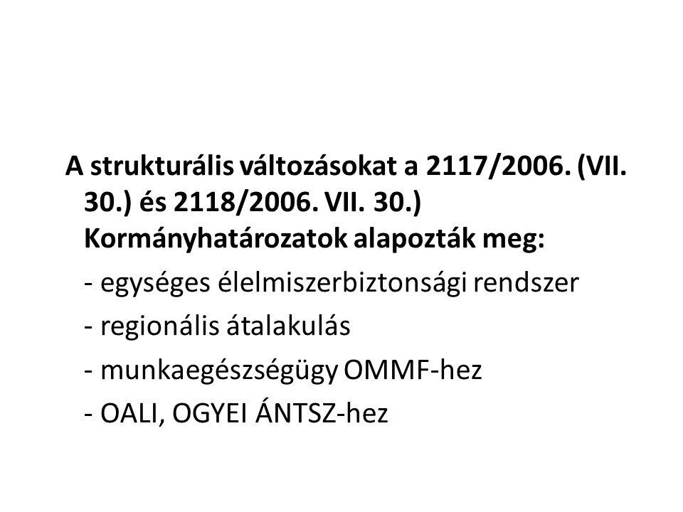 A strukturális változásokat a 2117/2006. (VII. 30.) és 2118/2006. VII. 30.) Kormányhatározatok alapozták meg: - egységes élelmiszerbiztonsági rendszer