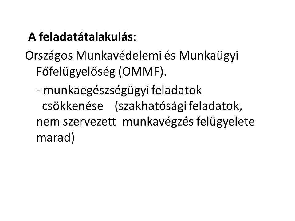 A feladatátalakulás: Országos Munkavédelemi és Munkaügyi Főfelügyelőség (OMMF).