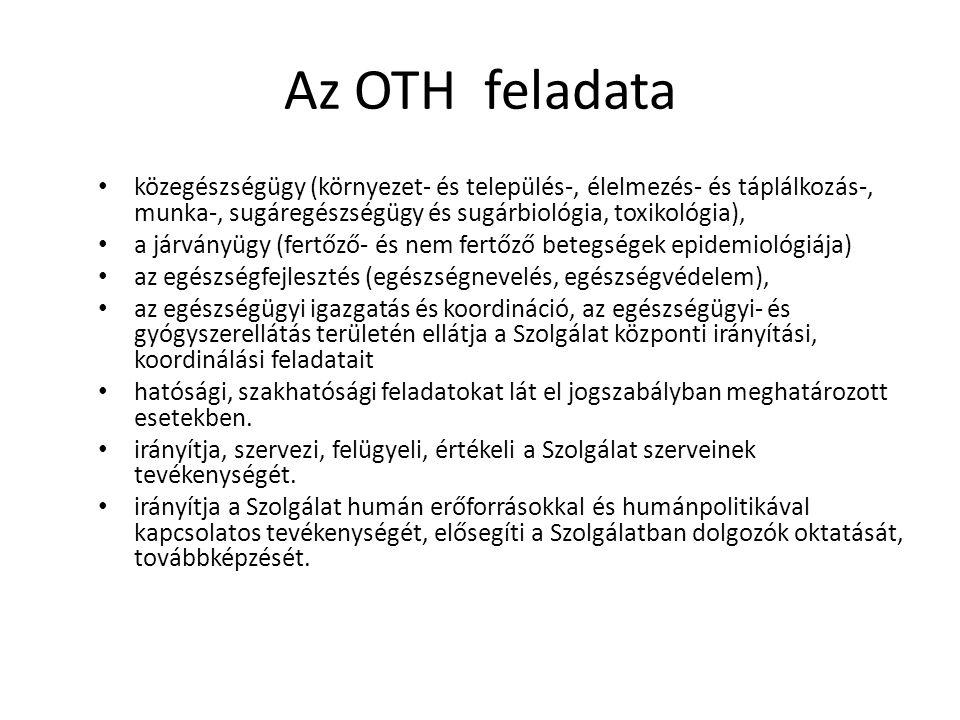 Az OTH feladata közegészségügy (környezet- és település-, élelmezés- és táplálkozás-, munka-, sugáregészségügy és sugárbiológia, toxikológia), a járványügy (fertőző- és nem fertőző betegségek epidemiológiája) az egészségfejlesztés (egészségnevelés, egészségvédelem), az egészségügyi igazgatás és koordináció, az egészségügyi- és gyógyszerellátás területén ellátja a Szolgálat központi irányítási, koordinálási feladatait hatósági, szakhatósági feladatokat lát el jogszabályban meghatározott esetekben.