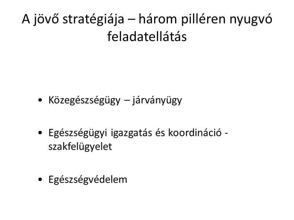 A jövő stratégiája – három pilléren nyugvó feladatellátás Közegészségügy – járványügy Egészségügyi igazgatás és koordináció - szakfelügyelet Egészségv