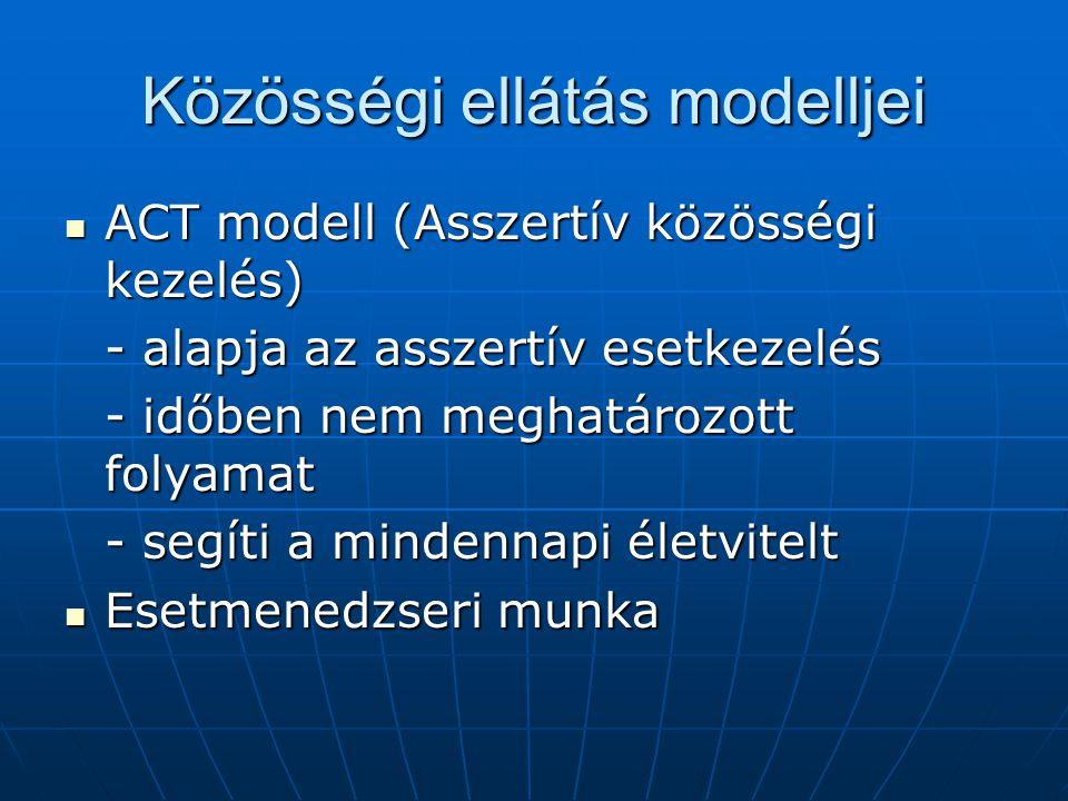 Közösségi ellátás modelljei ACT modell (Asszertív közösségi kezelés) ACT modell (Asszertív közösségi kezelés) - alapja az asszertív esetkezelés - időb