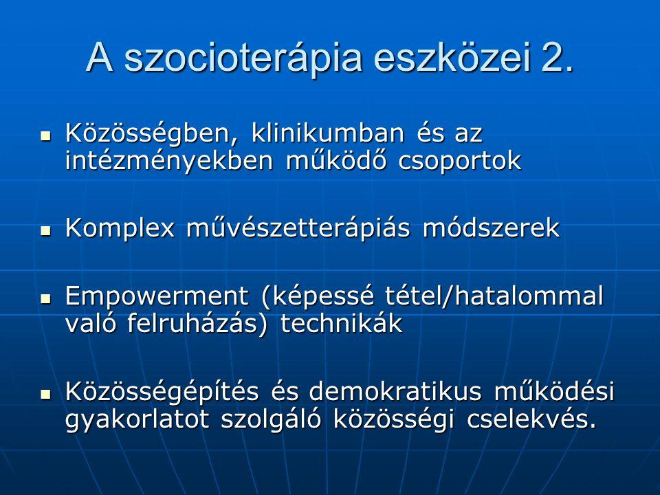 A szocioterápia eszközei 2. Közösségben, klinikumban és az intézményekben működő csoportok Közösségben, klinikumban és az intézményekben működő csopor