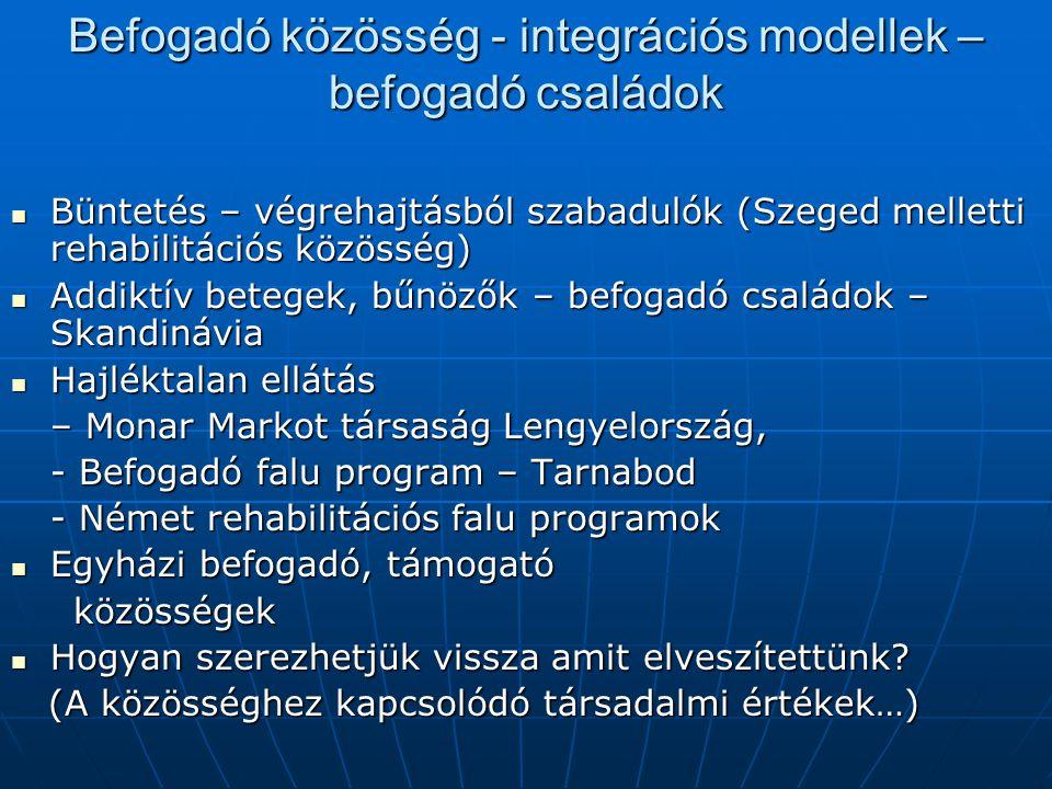 Befogadó közösség - integrációs modellek – befogadó családok Büntetés – végrehajtásból szabadulók (Szeged melletti rehabilitációs közösség) Büntetés –